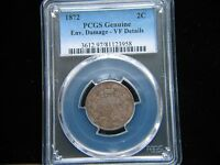 1872 TWO CENT PIECE PCGS VF DETAIL ENVIRONMENTAL DAMAGE  KEY DATE 2 CENT