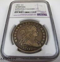 1802 DRAPED BUST DOLLAR COIN - NGC VF DETAILS - INCREDIBLE LUSTER