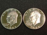 1973-S & 1974-S SILVER PROOF EISENHOWER DOLLARS