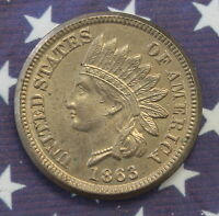 KAPPYSCOINS 1863/86 INDIAN SNOW 4 CH GEM BU OVER DATE EXTRA DIGIT BY EAR TOO