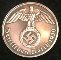 WW2 GERMAN 1 REICHSPFENNIG COIN AUTHENTIC HISTORICAL WW2 ARTIFACT