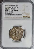 1967 MYSTERY COIN DOUBLE STRUCK ON 1966 PHILIPPINE 25 CENT  NGC AU58 MINT ERROR