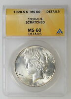 1928 S ANACS MS60 DETAILS PEACE DOLLAR WHITE W/REALLY CLEAN SURFACES   I 9102