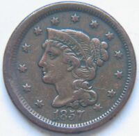 1857 1C SMALL DATE BN BRAIDED HAIR CENT  KEY DATE TOUGH VARIETY