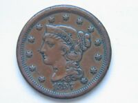 1857 1C SMALL DATE BN BRAIDED HAIR LARGE CENT  KEY DATE
