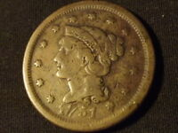 COLLECTIBLE UNITED STATES MINT 1851 BRAIDED HAIR LARGE CENT COIN COMP.ABOUT GOOD