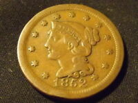 COLLECTIBLE UNITED STATES MINT 1852 BRAIDED HAIR LARGE CENT COIN COMPARES F/VF