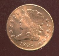 1828 CLASSIC HEAD HALF CENT 13 STARS EXTRA FINE /AU RED