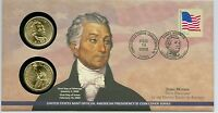 2008-1-JAMES MONROE 1ST DAY COIN COVER-UNOPENED, UNCIRCCULATED, 1ST-DAY-ISSUE-$1