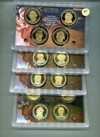 2007 - 2010 S PRESIDENT DOLLAR 4 COIN PROOF SET LOT 4 NO BOXES 6935J