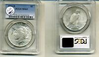 1934 D PEACE SILVER DOLLAR PCGS MINT STATE 63