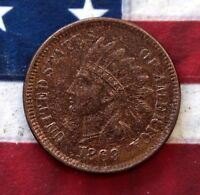 KAPPYSCOINS 1869/9  OVERDATE INDIAN HEAD CENT  AU ALMOST UNC