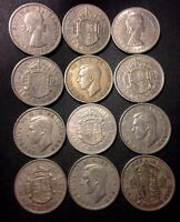 VINTAGE GREAT BRITAIN COIN LOT   12 GREAT HALF CROWNS    LOT