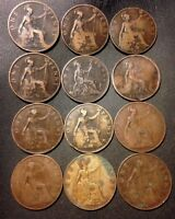VINTAGE GREAT BRITAIN COIN LOT   12 GREAT OLDER PENNIES   18