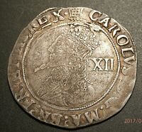 1633 34 HIGH GRADE CHARLES I SILVER SHILLING PORTCULLIS MM C R SHIELD  C550