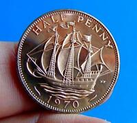 PROOF  MINT  UNC  QUALITY  1970  LAST  SHIP  HALFPENNY .LUCI
