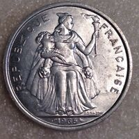 FRENCH POLYNESIA 5 FRANCS 1965 LARGE ALUMINUM COIN