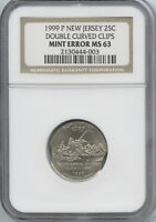 1999 NJ 25 DOUBLE CURVED CLIPS NGC MS 63