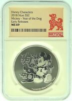 2018 NGC MS69 NIUE MICKEY MOUSE   1OZ SILVER YEAR OF THE DOG