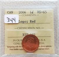 2006P CANADA SMALL CENT PENNY    ICCS GRADED MS 65    RED LOGO   GREAT DETAIL
