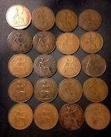 VINTAGE GREAT BRITAIN COIN LOT   20 GREAT LARGE PENNIES   19
