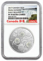 2017 CANADA PEARL FLOWERS MOTHER OF PEARL 1OZ SILVER NGC PF7
