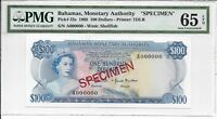 BAHAMAS MONETARY AUTHORITY   $100 1968. SPECIMEN. PMG 65EPQ.
