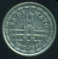 ARGENTINA COIN 1 PESO 1960 NICKEL   CLAD STEEL KM 58 150TH ANNIVERSARY AU