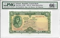 IRELAND   REPUBLIC CENTRAL BANK   1 POUND 1976. PMG 66EPQ.