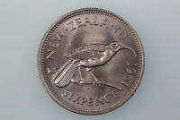 NZ SIXPENCE COIN 1961 KM26.1 GOOD LY FINE