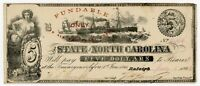 1862 CR.87 $5 THE STATE OF NORTH CAROLINA NOTE   CIVIL WAR ERA