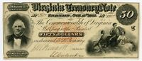 1862 CR.7 $50 VIRGINIA TREASURY NOTE   CIVIL WAR ERA