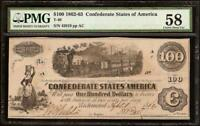 1862 63 $100 DOLLAR CONFEDERATE STATES CURRENCY CIVIL WAR NOTE MONEY T 40 PMG 58