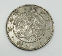 ESTATE FOUND MEIJI ERA JAPANESE DRAGON MOTIF 50 SEN SILVER C