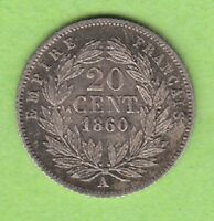 FRANCE 20 CENTIMES 1860 A GREAT RECEIVE LEIPZIG