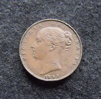 1843 UK FARTHING QUEEN VICTORTIA COPPER FARTHING