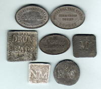 SCOTLAND. GROUP OF 7 DIFFERENT COMMUNION TOKENS. EARLY 1800S   C1880S  IN LEAD