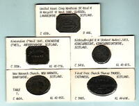 SCOTLAND. GROUP OF 5 DIFFERENT COMMUNION TOKENS. EARLY 1800S   1847  IN LEAD