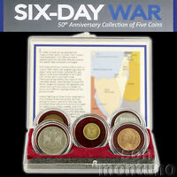 SIX DAY WAR   50TH ANNIVERSARY COLLECTION OF 5 COINS IN BOX   COA   ISRAEL 1967