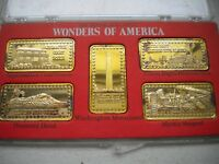 HAMILTON MINT WONDERS OF AMERICA 5 OZ SILVER INGOTS 24K GOLD WASHINGTON MONUMENT