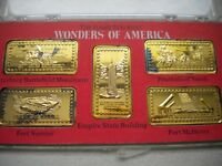HAMILTON MINT WONDERS OF AMERICA 5 OZ SILVER INGOTS 24K GOLD EMPIRE STATE BLDG