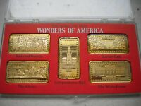 HAMILTON MINT WONDERS OF AMERICA 5 OZ SILVER INGOTS 24K INDEPENDENCE HALL   4