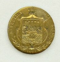 COSTA RICA 1875 GW GOLD 5 PESOS  ABOUT UNCIRCULATED