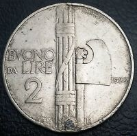 ITALY: 1923 R 2 LIRE COIN KM 63 PLUGGED HOLE  FREE COMBINED S/H