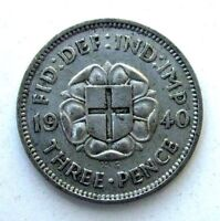 GREAT BRITAIN UK COINS THREEPENCE 1940 GEORGE VI SILVER 0.50