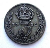 GREAT BRITAIN UK COINS THREEPENCE 1921 GEORGE V SILVER 0.500