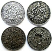 GREAT BRITAIN UK COINS THREEPENCE 1931 & 1933 & 1934 & 1938
