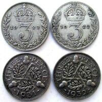 GREAT BRITAIN COINS THREEPENCE 1921 & 1922 & 1931 & 1932 GEO