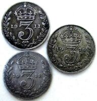 GREAT BRITAIN UK COINS THREEPENCE 1911 & 1918 & 1919 GEORGE