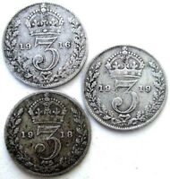 GREAT BRITAIN UK COINS THREEPENCE 1916 & 1918 & 1919 GEORGE